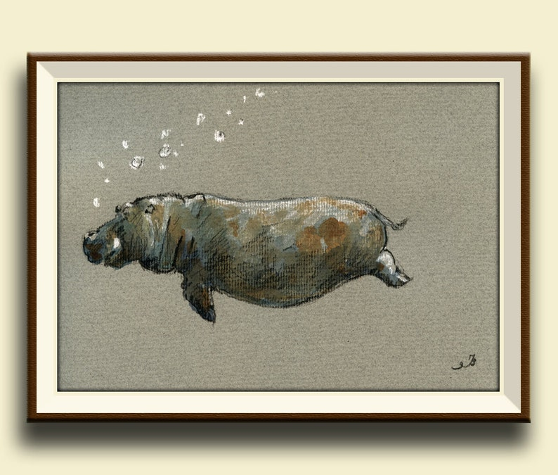 PRINT-Hippo hippo swimming print of watercolor painting image 0