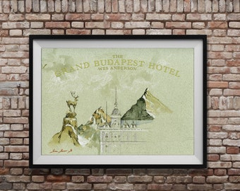 POSTER PRINT - The Grand Budapest Hotel - Wes Anderson film poster print -vintage style film watercolor Poster - movies decor -by Juan Bosco