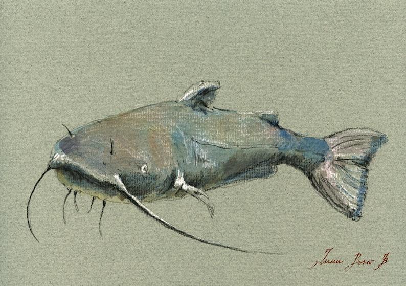 Print Catfish Fish Fishing Decor Catfish Painting Catfish Etsy