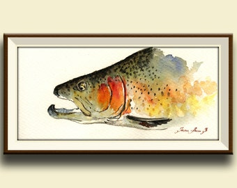 PRINT-Rainbow trout fish fly fishing river animal watercolor print  head portrait - Art Print by Juan Bosco