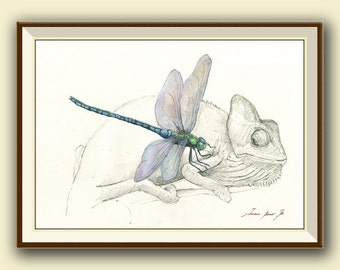 PRINT- Dragonfly & Chameleon -insect reptile art print watercolor - insect illustration home decor - scientific - Art Print by Juan Bosco