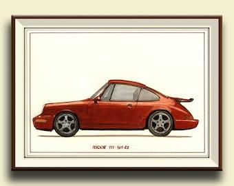 PRINT-Porsche 911 964 RS - Porsche classic - print watercolor painting art wall car decal auto Porsche - art by Juan Bosco