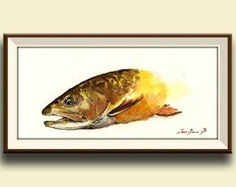 PRINT-Brown trout fish fly fishing river animal watercolor print  head portrait - Art Print by Juan Bosco