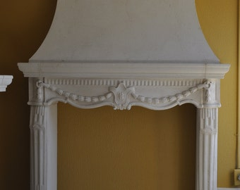 Cast Stone Fireplace mantel French traditional style custom made Overmantel hood