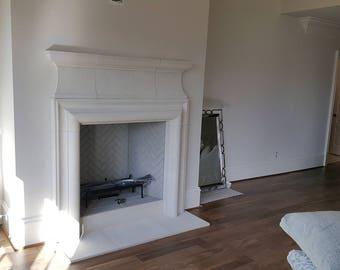 Cast Stone Fireplace mantel Old World fireplace Traditional style custom made Limestone Mantel