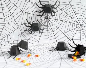Halloween Spider, Geometric Spider Kit - Set of 6, DIY Halloween Kit, Halloween Decor, Spider Garland, Halloween Banner, Modern, Sculpture