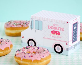Donut Food Truck, Donut Party Favor, Food Truck, Cupcake Box, Sweet Shoppe Party, Bakery Box, Dessert Table, Centerpiece, Doughnut Birthday