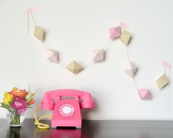 Geometric Garland, Paper Octahedron, Banner, DIY Kit, Nursery Decoration, Party Decor, Wedding Banner, Geometric Backdrop, Pink, Gold, Blush