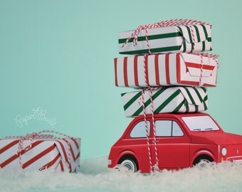 vintage retro holiday car retro car cake pop box favor box holiday decoration centerpiece christmas decor holiday decor paper toy