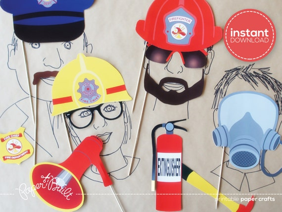 Firetruck Birthday Photo Booth Props - Fireman Birthday ...