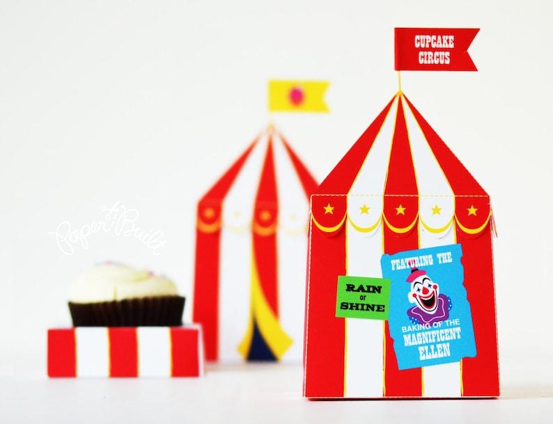 Circus Tent Cupcake Box Cupcake Box Circus Party Circus image 0
