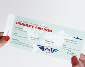 Modern Airplane Birthday Party Airline Ticket Invitation, Boarding Pass Invitation, DIY Airline Ticket Invite, Baby Shower, Pilot Retirement