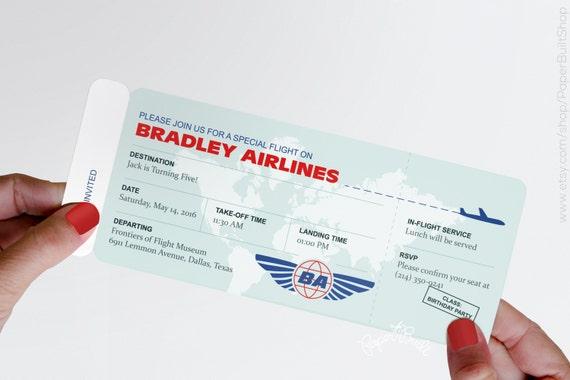 Boarding pass invitation airplane birthday baby shower