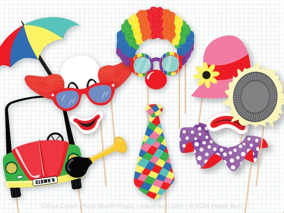 Circus Clown Photo Booth Props Photobooth Props Circus Birthday Circus Clown Party Clown Party Decor Clown Centerpiece Carnival Party By Paper Built Catch My Party
