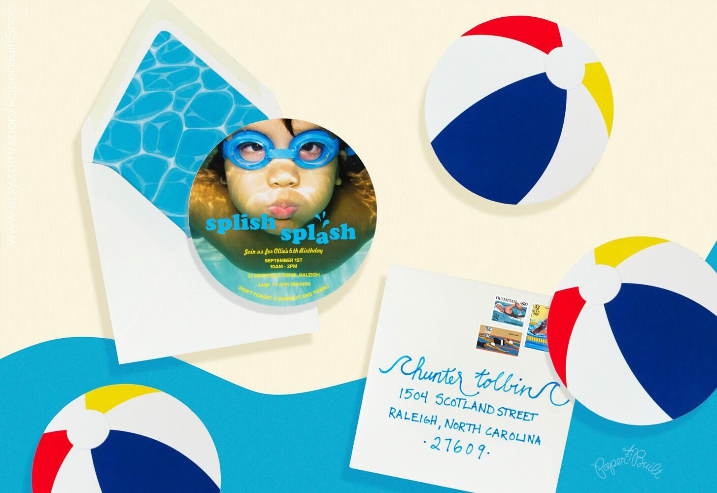 Pool Party Invitation Beachball Invite Swimming Birthday | Etsy