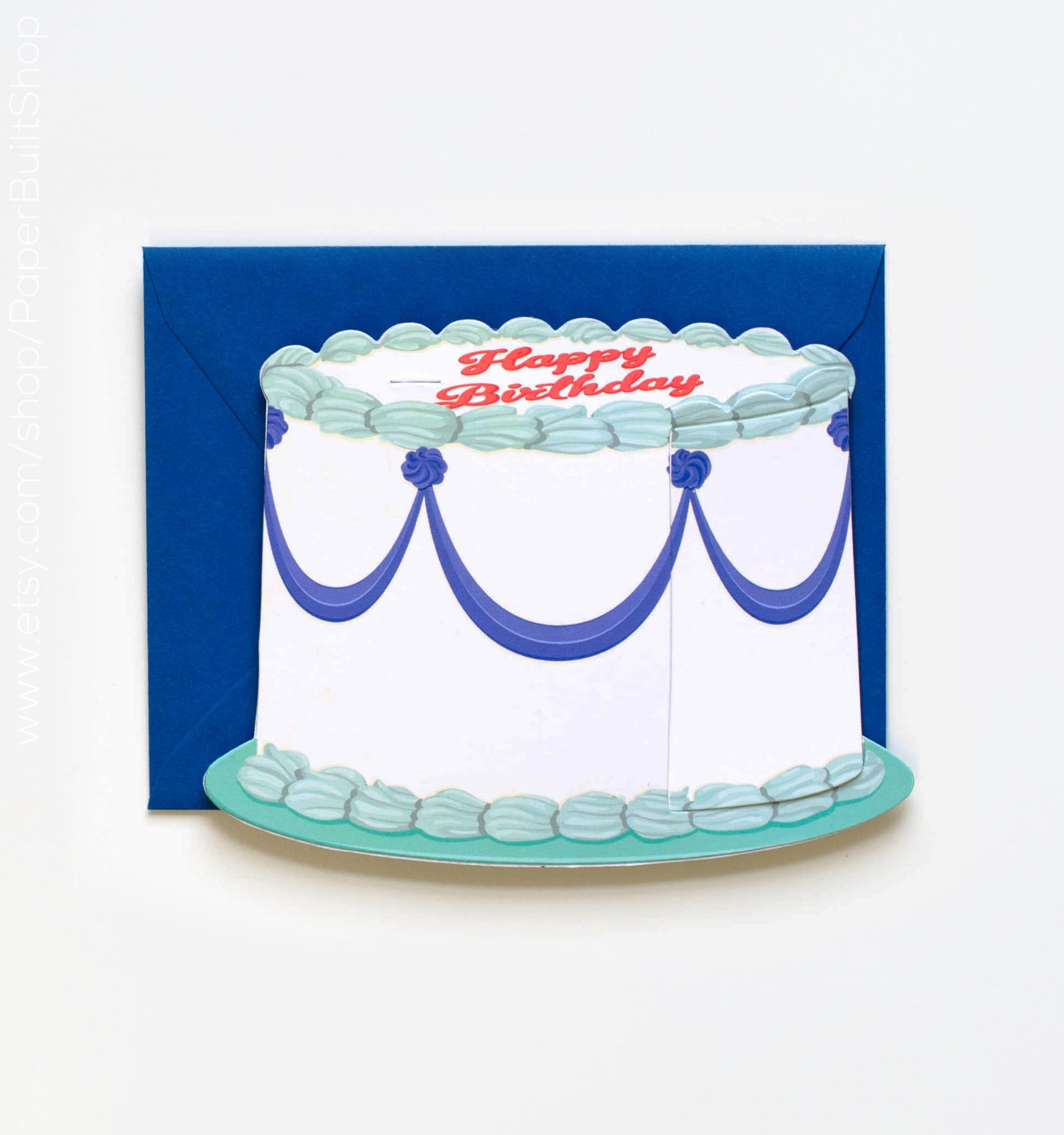 Birthday Cake Birthday Card Die Cut Greeting Card Cake Etsy