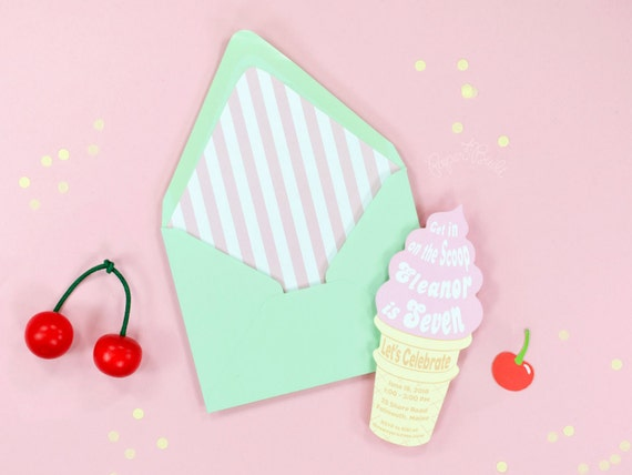 ice cream party invitation soft serve ice cream cone etsy