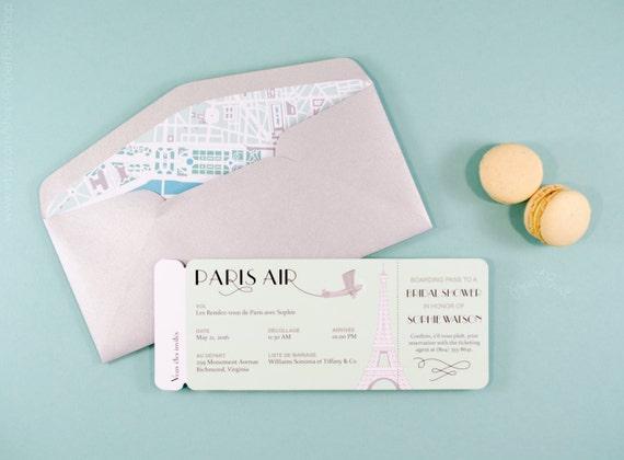 Paris Boarding Pass Invitation Airline Ticket French Birthday