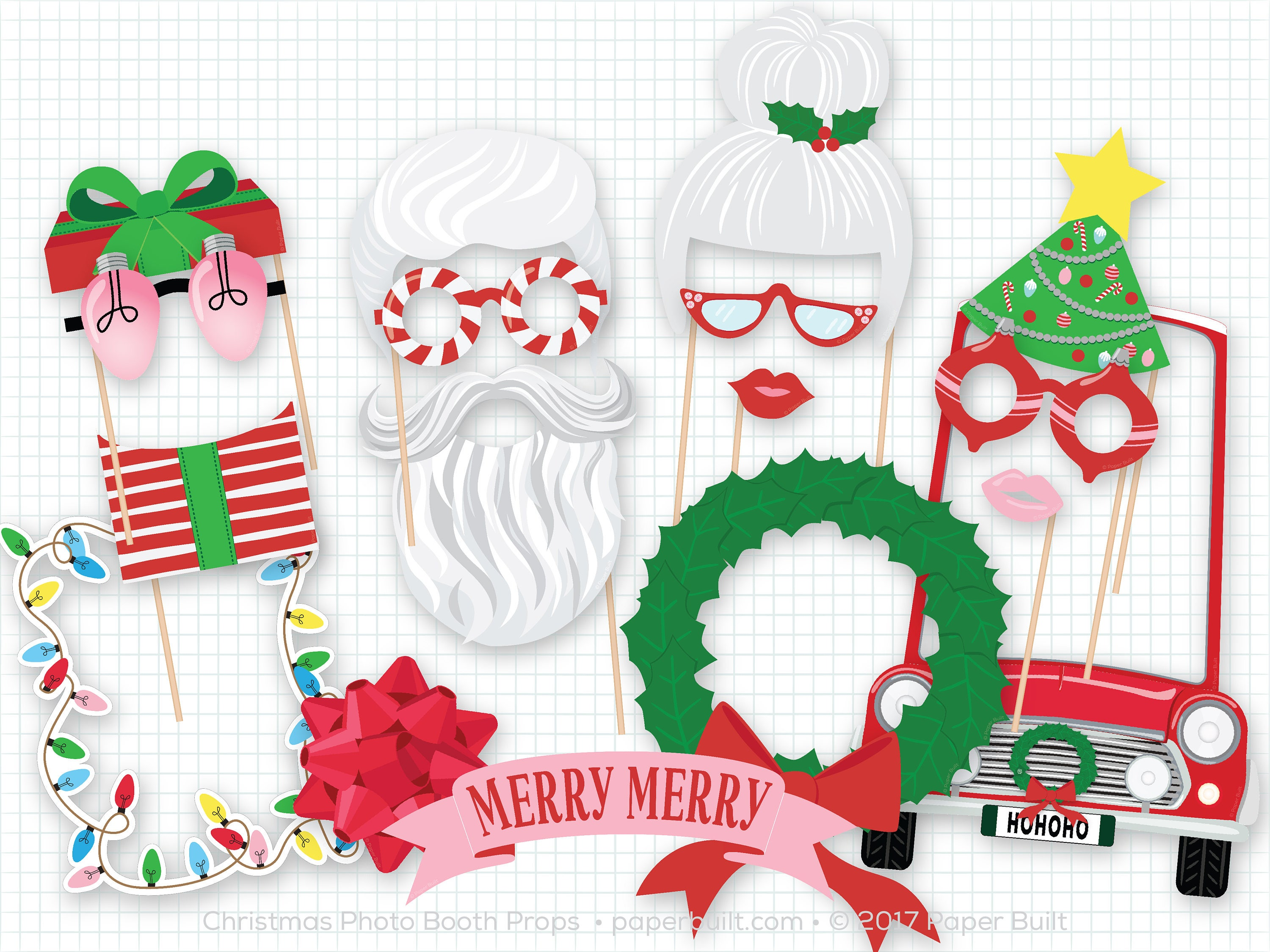 christmas photo booth props holiday photobooth props cute