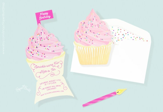 cupcake party cupcake invitation baking birthday party etsy