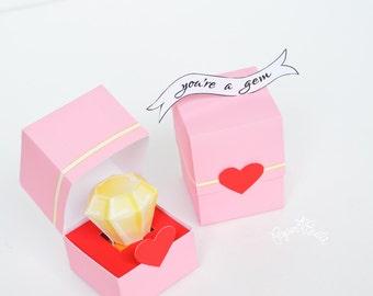 Diamond Ring Valentine, Paper Ring, Paper Gem, You're Brilliant Valentine, Valentine, Valentines Day, You're a Gem Valentine, Paper Craft