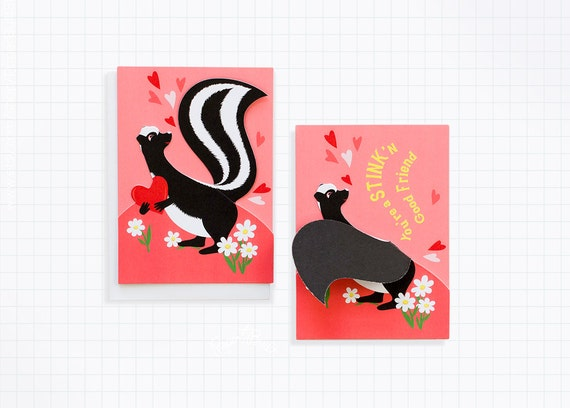 Kids Valentine Card Skunk Valentine Valentines Day Card School