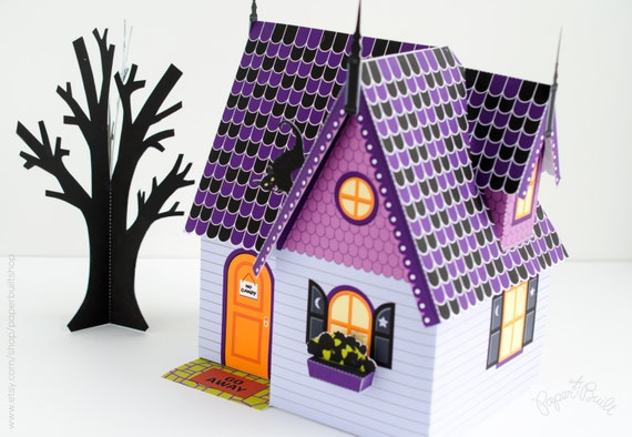 Witch Paper Doll Black Cat Printable Halloween Decor Miniature Crazy Cat Lady Halloween Haunted House Kit Paper Dollhouse