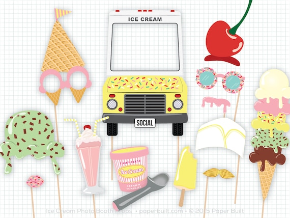Ice Cream Party Photo Booth Props Photobooth Props Ice Etsy