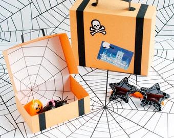 Halloween Suitcase Favor Box Kit - Set of 4 - Favor Box, Halloween Party Favor, Unique Halloween Treat Box, Hostess Gift, October Gift Box