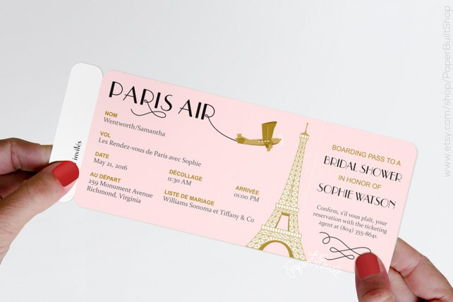 Paris theme party boarding pass invitation real airline etsy image 0 filmwisefo