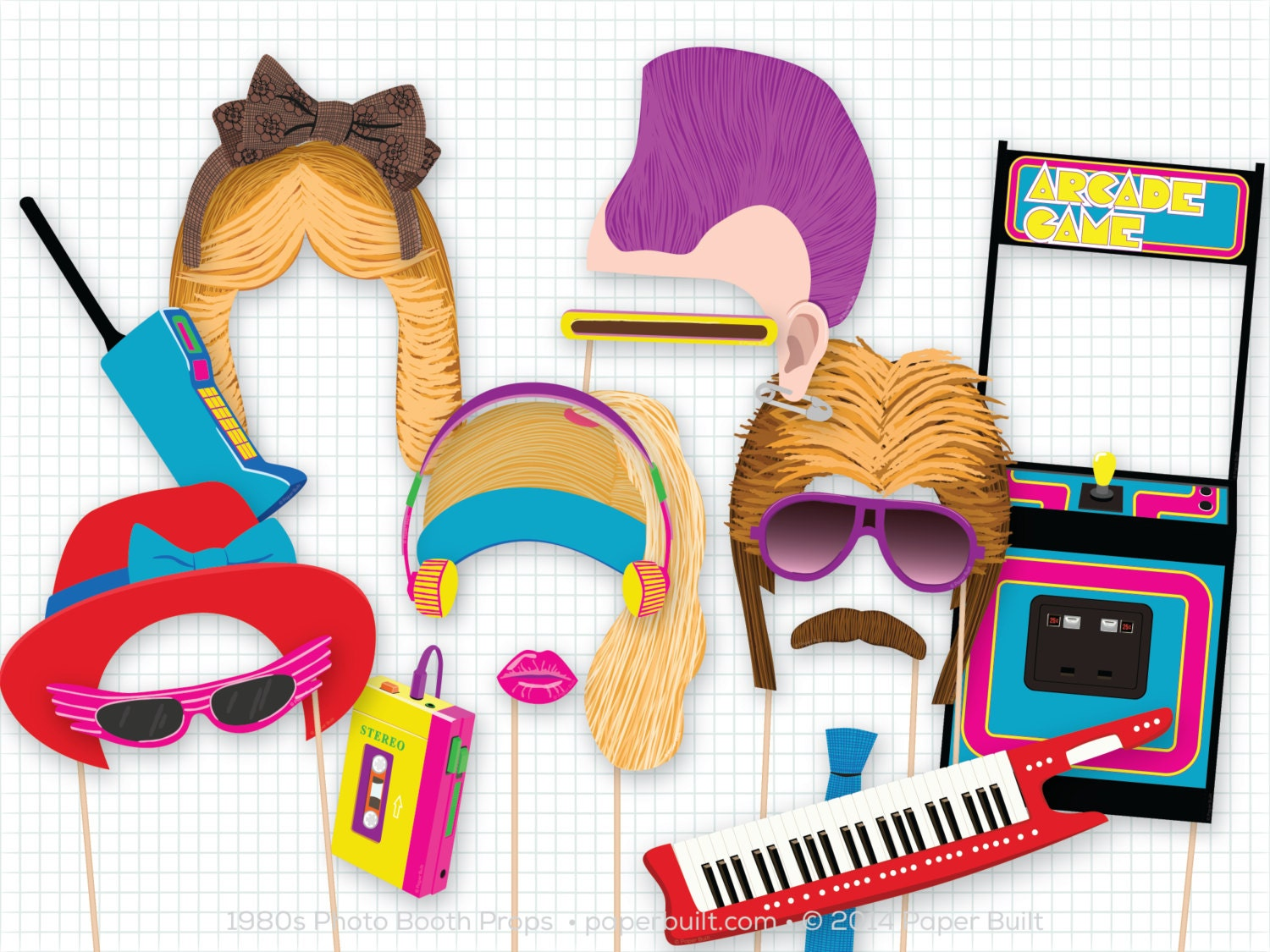 1980s Party Photo Booth Props 1980 S Photobooth Props Etsy