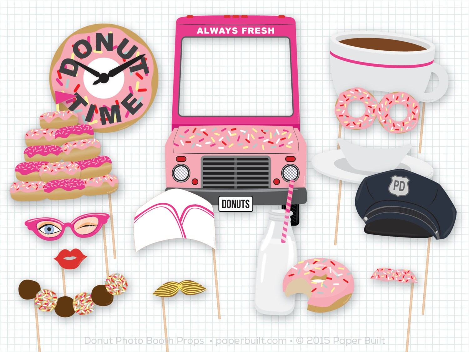 Donut Shoppe Party Donut Photo Booth Props Donut Party   Etsy