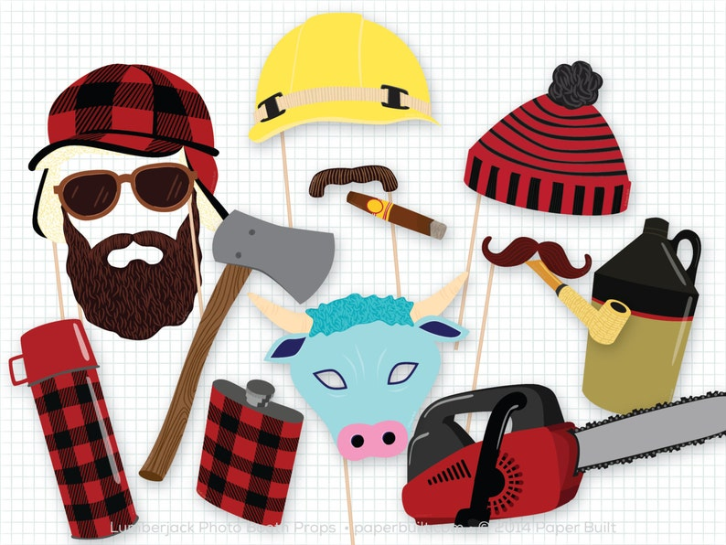 Lumberjack Party Photo Booth Props Photobooth Props image 0