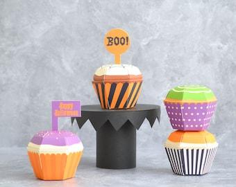Halloween Cupcake Boxes - Set of 4 Craft Kit, Halloween Party Favor Box, Trick or Treat Idea, DIY Halloween Craft, October Gift Spooky Treat