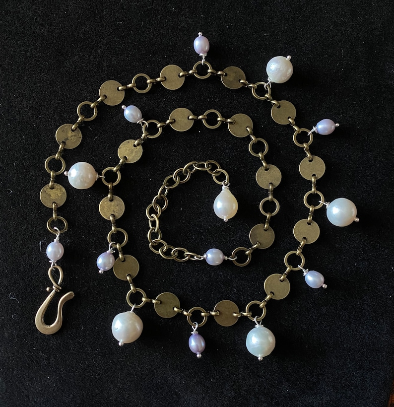 Antiqued Brass Spangle Necklace with White and Lavender Freshwater Pearls by Linda Queally