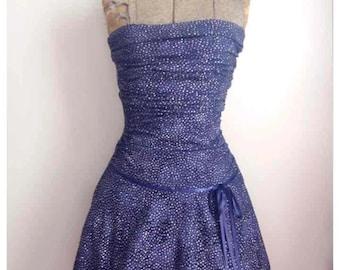 Strapless glitter evening dress