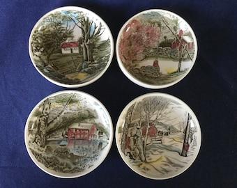 "Set of 4 FRIENDLY VILLAGE England Coaster Plates 4 1/4"" Vintage Johnson Bros"