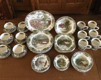 50 Pc Set FRIENDLY VILLAGE England Dinnerware Set for 6 Place Settings Vintage Johnson Bros