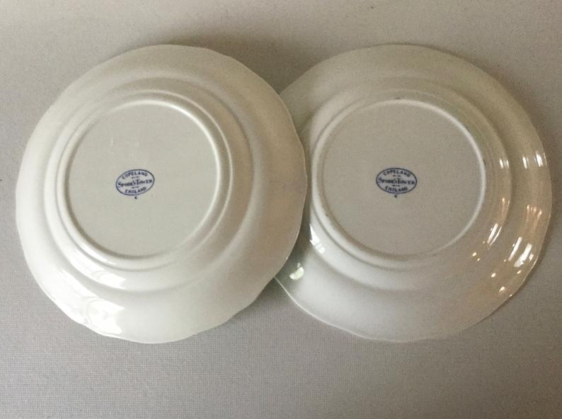 2 Salad Plates 7 34 Copeland Spode BLUE TOWER C1814 Gadroon Edge Antique Transferware England