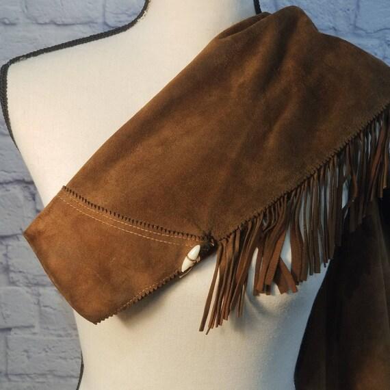 Vintage Suede Leather Fringed Leather Jacket Zip … - image 9