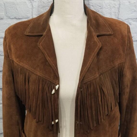 Vintage Suede Leather Fringed Leather Jacket Zip … - image 2