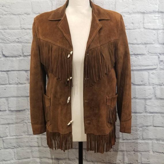 Vintage Suede Leather Fringed Leather Jacket Zip … - image 3