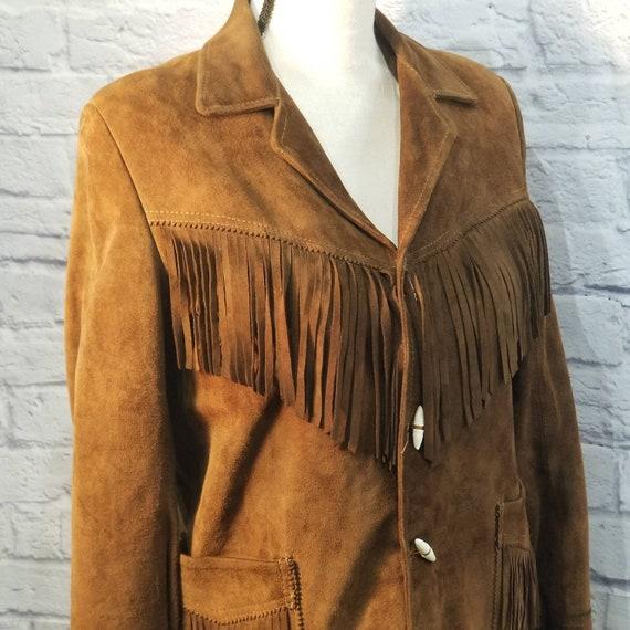 Vintage Suede Leather Fringed Leather Jacket Zip … - image 1