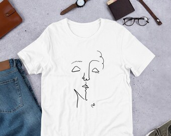 2294d96b0995 Line Drawing Face Portrait Tee   Artsy T-Shirt Soft Cotton 100%   Jersey  Soft Edgy Art Tees   Matisse Picasso Artist Style
