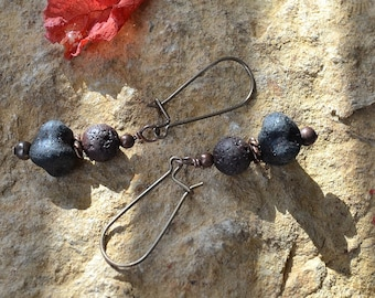 Rustic Czech glass and lava dangle earrings
