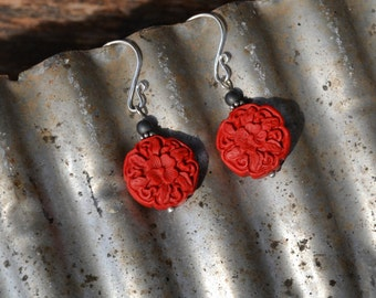 Scarlet floral cinnabar earrings with sterling silver beads and jet black glass accents.