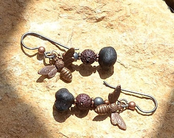 Rustic honeybee dangle earrings.