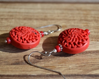 Scarlet chrysanthemun cinnabar dangle earrings
