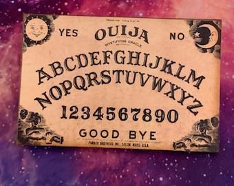 Vintage Stylized Spirit Board Brooch, Halloween Pin, wooden planchette brooch, spiritualism occult jewelry gift, Curio Brooch