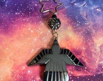 Russian Firebird Hematite Ornament, Slavic Folkloric Firebird Ornament, Yuletide Lucky Phoenix Crystal Decoration, Legendary Bird Jewelry